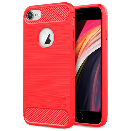 Flexi Slim Carbon Fibre Case for Apple iPhone 8 / 7 / SE (2nd Gen) - Brushed Red